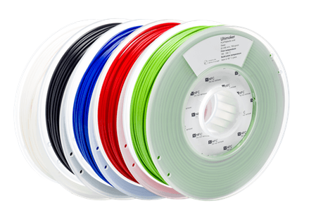 Thermoplastic filament on a coil by Ultimaker, a producer of FFF 3D printers.