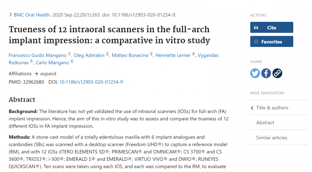 PUBMED INTRAORAL SCANNER STUDY