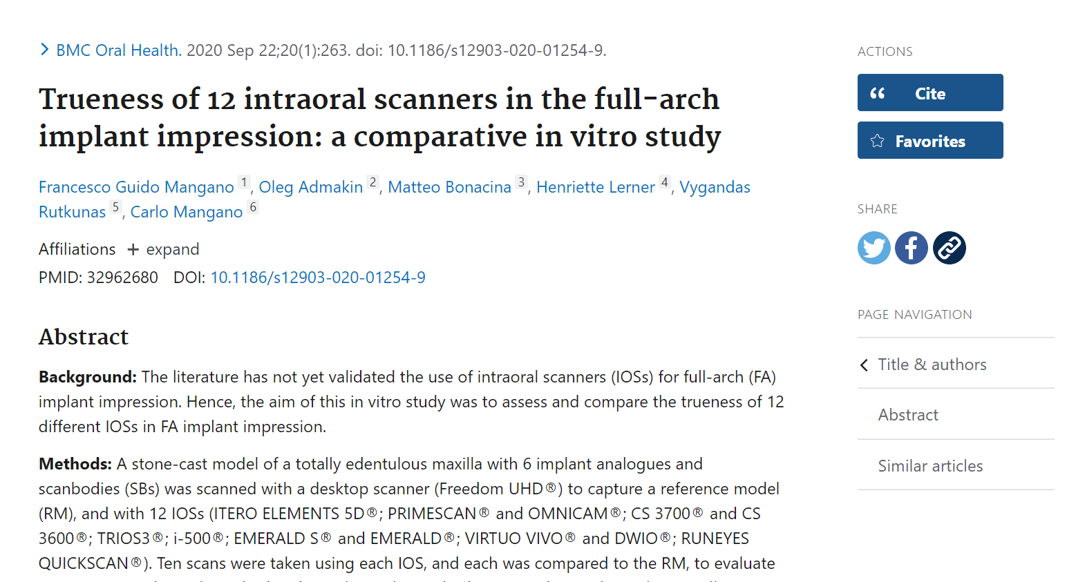 PUBMED INTRAORAL SCANNER STUDY
